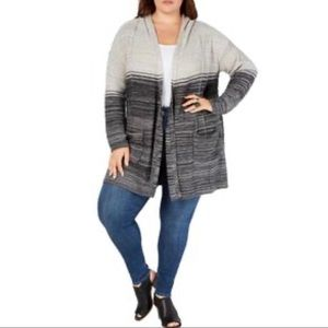 Style & Co Plus Women Ombre Hooded Cardigan